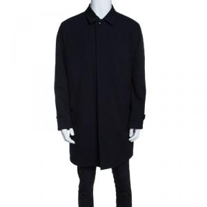 Ermenegildo Zegna Navy Blue Wool Gabardine Leather Trim Long Jacket XL