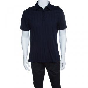 Ermenegildo Zegna Navy Blue Patterned Honeycomb Knit Polo T-Shirt M