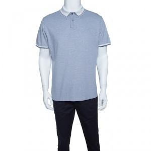 Ermenegildo Zegna Navy Blue and White Honeycomb Knit Polo T-Shirt L