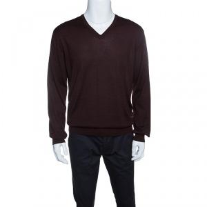 Ermenegildo Zegna Brown Cashseta Light Ribbed Trim V-Neck Sweater L