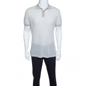Ermenegildo Zegna Grey Linen Knit Ribbed Trim Polo T-Shirt S