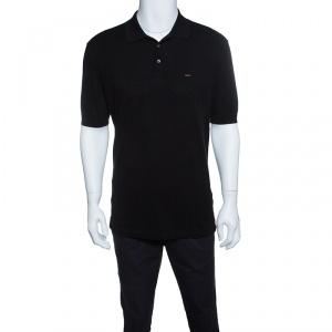 Ermenegildo Zegna Couture Black Honeycomb Knit Logo Embroidered Polo T-Shirt L