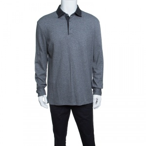 Ermenegildo Zegna Grey Knit Ribbed Contrast Collar Sweater XL