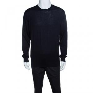 Ermenegildo Zegna High Performance Navy Blue Ribbed Trim Sweater L