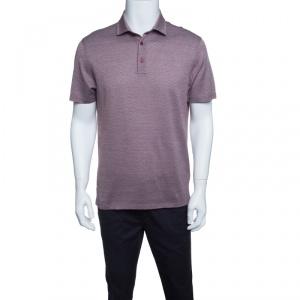 Ermenegildo Zegna Brown and White Cotton Diamond Patterned Knit Polo T-Shirt S