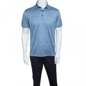 Ermenegildo Zegna Navy Blue and White Cotton Knit Short Sleeve Polo T-Shirt S