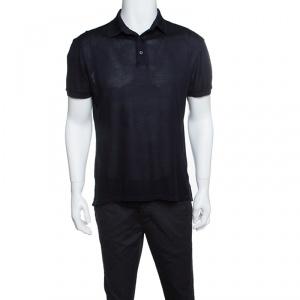 Ermenegildo Zegna Navy Blue Perforated Silk Knit Short Sleeve Polo T-Shirt M
