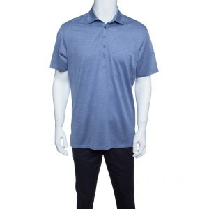 Ermenegildo Zegna Navy Blue and White Cotton Jersey Knit Short Sleeve Polo T-Shirt M