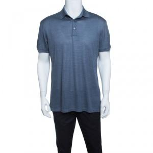 Ermenegildo Zegna Grey Silk Jersey Knit Short Sleeve Polo T-Shirt M