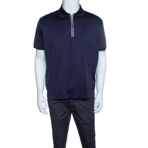 Ermenegildo Zegna Navy Blue Zip Front Polo T-Shirt XL