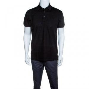 Ermenegildo Zegna Black Honeycomb Knit Polo T-Shirt M