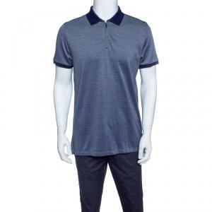 Ermenegildo Zegna Navy Blue Honeycomb Knit Zip Front Polo T-Shirt M