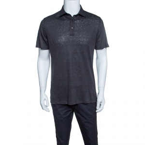 Ermenegildo Zegna Dark Grey Linen Jersey Polo T-Shirt S