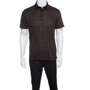 Ermenegildo Zegna Brown Linen Slub Jersey Polo T-Shirt S