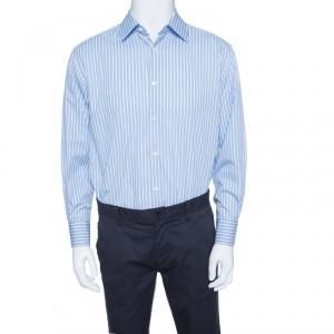 Ermenegildo Zegna Blue Striped Cotton Regular Fit Button Front Shirt XL