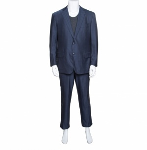 Ermenegildo Zegna Blue Striped Wool Trofeo 600 Mila Suit XXL