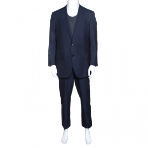 Ermenegildo Zegna Navy Blue  Striped Wool Trofeo 600 Regular Fit Mila Suit XXL