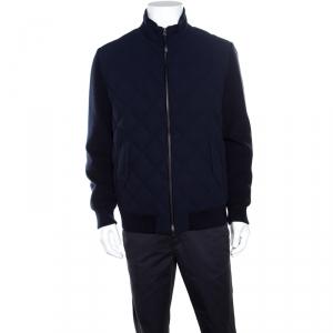 Ermenegildo Zegna Navy Blue Leather Trim Detail Quilted Wool Trofeo Down Jacket XXL