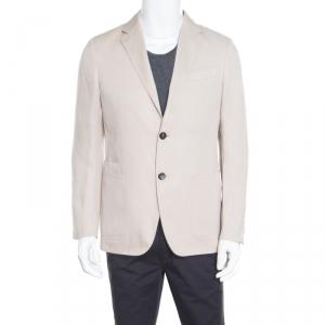 Ermenegildo Zegna Beige Silk and Linen Tailored Blazer M