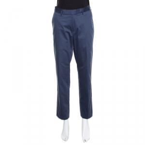 Ermenegildo Zegna Navy Blue Tailored Cotton Slim Fit Trousers M