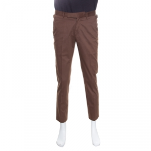 Ermenegildo Zegna Brown Tailored Cotton Slim Fit Trousers M