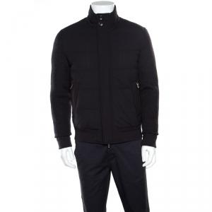 Ermenegildo Zegna Elements Grey Wool Leather Trim Detail Puffer Jacket M