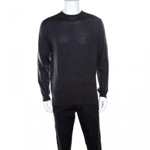 Ermenegildo Zegna High Performance Dark Grey Ribbed Trim Sweater L - used