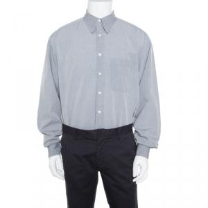 Ermenegildo Zegna Soft Grey Cotton Button Down Long Sleeve Shirt XL