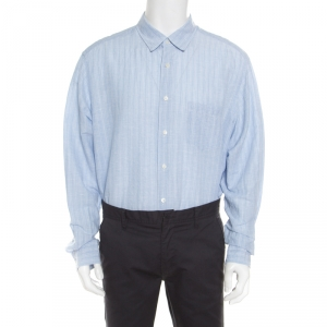 Ermenegildo Zegna Light Blue Striped Cotton Linen Button Down Shirt 3XL
