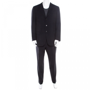 Ermenegildo Zegna Navy Blue Striped Wool Microsphere Suit XL