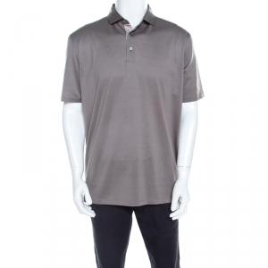 Ermenegildo Zegna Light Grey Cotton Short Sleeve Polo T Shirt XL