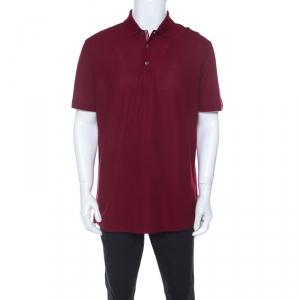 Ermenegildo Zegna Burgundy Cotton Stretch Pique Knit Polo T Shirt XL