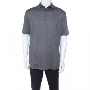 Ermenegildo Zegna Grey Cotton Argyle Pattern Polo T Shirt XL
