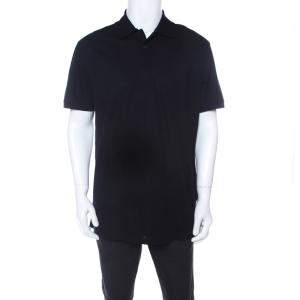 Ermenegildo Zegna Dark Blue Cotton Pique Short Sleeve Polo T Shirt XL