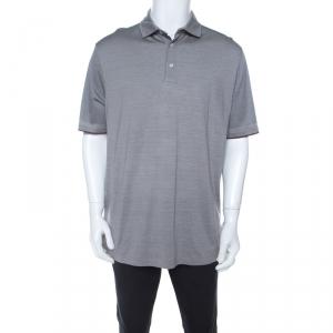Ermenegildo Zegna Grey Striped Cotton Silk Short Sleeve Polo T Shirt XL