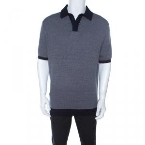 Ermenegildo Zegna Blue Diamond Patterned Cotton Jacquard  Polo T Shirt XL