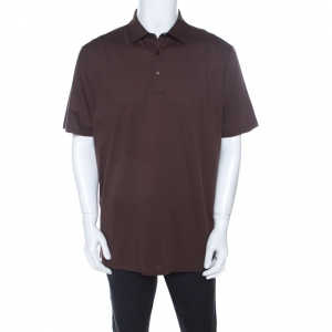 Ermenegildo Zegna Cocoa Brown Cotton Short Sleeve Polo T Shirt XL