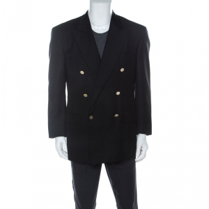 Ermenegildo Zegna Black Wool Double Breasted Regular Fit Blazer L