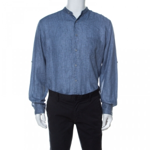 Ermenegildo Zegna Blue Linen Mandarin Collar Button Down Shirt XL