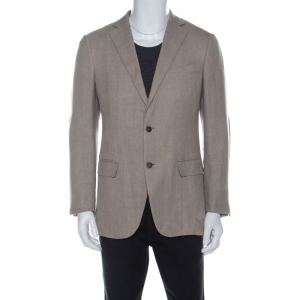 Ermenegildo Zegna Beige Cashmere and Linen Blend Elbow Patch Detail Blazer M