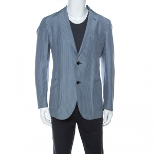 Ermenegildo Zegna Blue Striped Linen and Silk Blend Light Blazer L