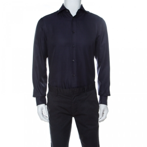Ermenegildo Zegna Navy Blue Woven Cotton Slim Fit Shirt M