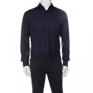 Ermenegildo Zegna Navy Blue Woven Cotton Slim Fit Shirt M