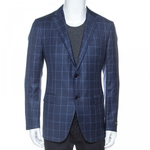 Ermenegildo Zegna Blue Windowpane Check Wool Milano Easy Fit Blazer XL