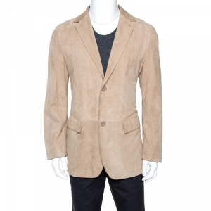 Ermenegildo Zegna Beige Leather Two Buttoned Blazer L