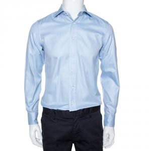 Ermenegildo Zegna Light Blue Diagonal Striped Cotton Long Sleeve Shirt S