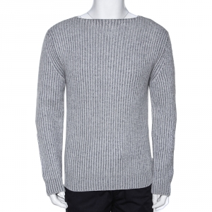Ermenegildo Zegna Couture Melange Grey Cashmere Knit Sweater S