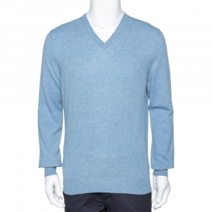 Ermenegildo Zegna Light Blue Cashmere V-Neck Sweater M