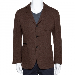 Ermenegildo Zegna Brown Cashmere Three Buttoned Jacket L