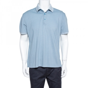 Ermenegildo Zegna Blue Honeycomb Knit Polo T-Shirt XL
